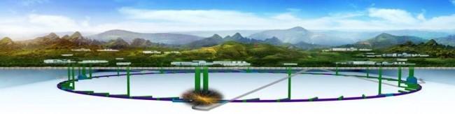 중국과학원이 추진 중인 둘레 100km 초대형 입자가속기의 개념도. - 중국과학원 고에너지연구소 제공